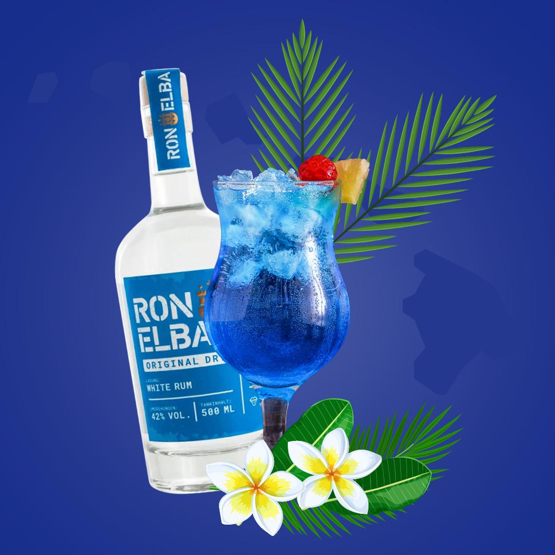 Macht Lust auf Meer: Der Blue Hawaii Cocktail mit Rum und Kokosnuss