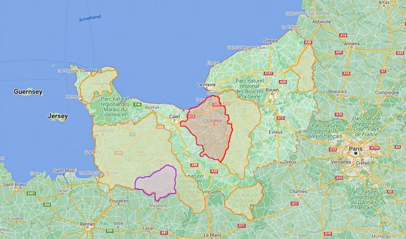Calvados Herkunftsgebiete: orange - AOC Calvados; lila - AOC Domfrontais; rot - AOC Pays d'Auge   Google Maps/Eigene