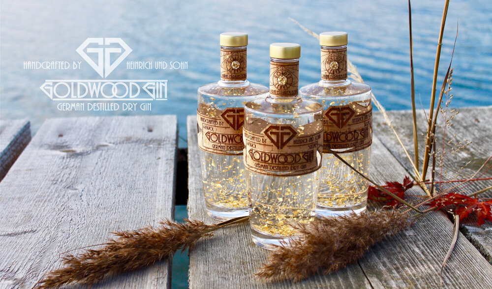 Goldwood Gin mit essbaren Goldflocken