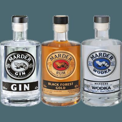 Drei Könige - 3x Craft Spirituosen (1x Marder Gin + 1x Marder Wodka + 1x Marder Rum)