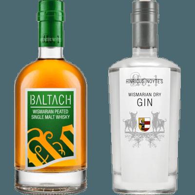 Wismarian Power - 2x Craft Spirituosen (1x BALTACH Wismarian Single Malt Whisky + 1x Wismarian Dry Gin)