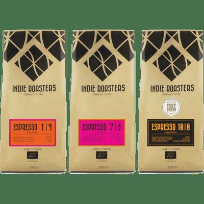 Espressobombe - 3x Craft Espresso von Indie Roasters (1x Espresso 1 | 9 + 1x Espresso 7 | 3 + 1x Espresso 10 | 0)