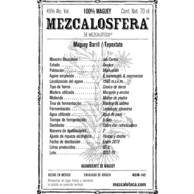 Mezcalosfera Barril/Tepextate Mezcal Etikett