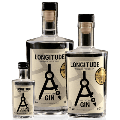 Longitude London Dry Gin Family Set - 3x London Dry Gin (0,5 l + 0,35l + 0,05 l)
