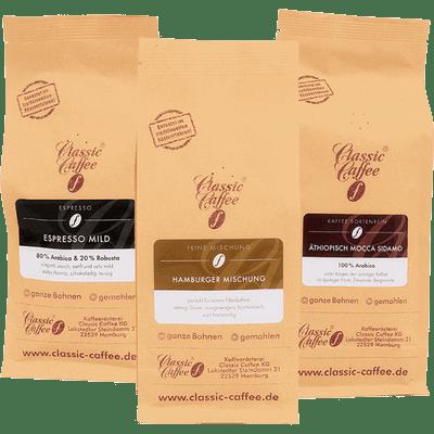 Kaffee Mix Probierpaket (Hamburger Mischung + Espresso Mild + Äthiopisch Mokka Sidamo)