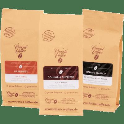 Kaffee Mix Probierpaket (Haselnuss + Columbia Supremo + Espresso Classico)