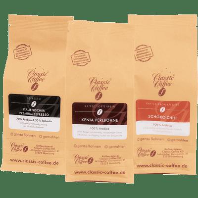 Kaffee Mix Probierpaket (Schoko-Chili + Kenia Perlbohne + Italienischer Premium Espresso)
