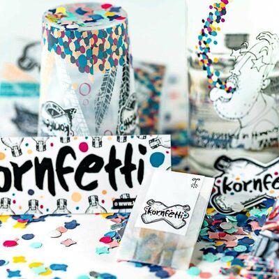 Kornfetti - Geschenkbox (1x Weizenkorn + 4x Becher + Überraschungen) 3