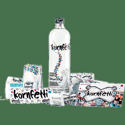 Kornfetti - Geschenkbox (1x Weizenkorn + 4x Becher + Überraschungen)