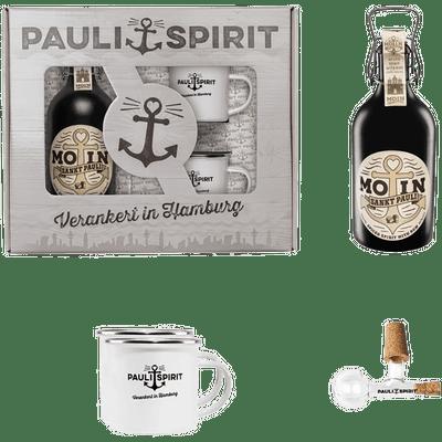 Geschenkset MOIN Rum (Spiced Spirit) mit 2 Emaille Bechern & Ausgießer