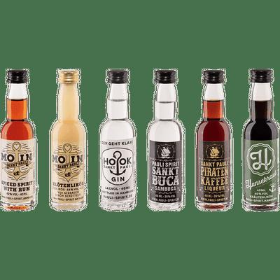 """Lütten-Probierset """"Pauli Spirit"""" von der Reeperbahn (Rum + Gin + Eierlikör + Kräuterlikör + Anis-Kaffeelikör + Sambuca)"""