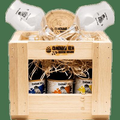 Geschenk-Set Holzkiste Groß (6 verschiedene Biere + 2 Gläser + Untersetzer)