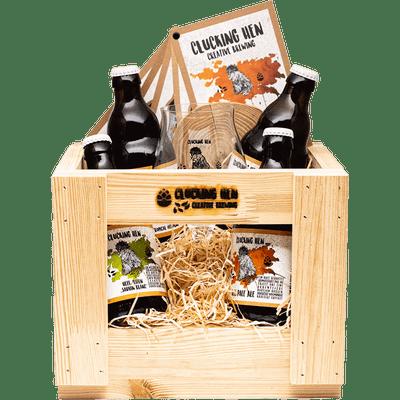 Geschenk-Set Holzkiste (4 verschiedene Biere + Glas + Untersetzer)