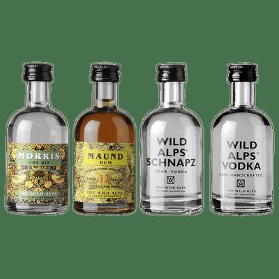 Wild Alps Probierset (Morris Dry Gin + Maund Rum + Vodka + Schnapz Birnen Vodka)