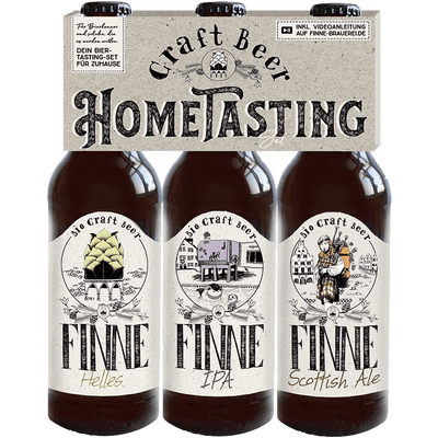 12er Hometasting Paket mit 4 Finne Sensorikgläsern (je 4x Helles + IPA + Scottish Ale)