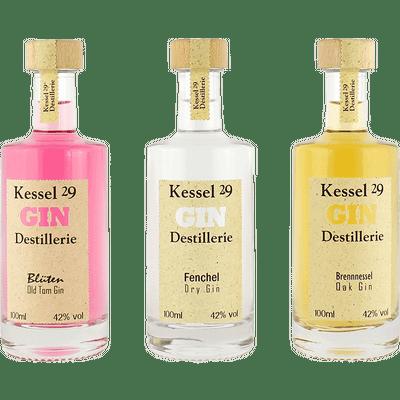 Kessel 29 Gin Set (Fenchel Dry Gin + Blüten Old Tom Gin + Brennnessel Oak Gin, 3x100ml)