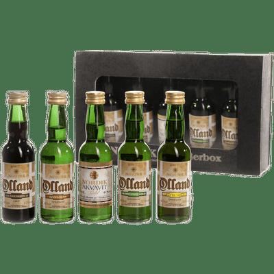 Nordik Genießerbox (Quitte Gold + Herbstprinz Gold + Akvavit Gold + Haselnussgeist + Knabberkirsch)