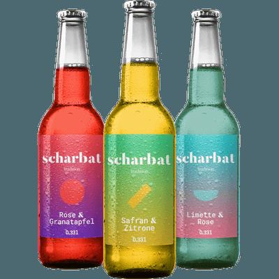 Geschmäcker des Orients - 6x Scharbat Craft Limonade (2x Zitrone & Safran + 2x Granatapfel & Rose + 2x Limette & Rose)